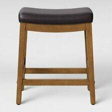 Belvidere Faux Leather Saddle Counter Stool Espresso Faux Leather New open box