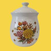 Vintage Wang's Cookie Biscuit Jar with Lid Orange Tone Floral Transferware