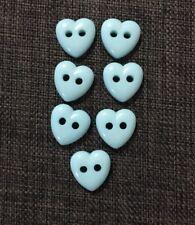 7 X Light Blue Love Heart Buttons Sewing Craft two Holes 13mm Kids Novelty