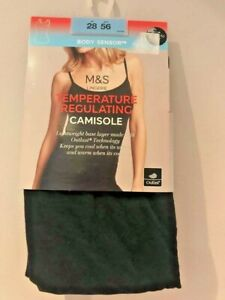 BNWT M&S Lingerie Temperature Regulating Camisole Sz 28 Black Base Layer
