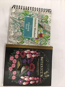 Lot of 2 Adult Coloring Books Outdoor Wonders, Botanicum