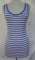 GAP The Modern Tank Top White Blue Stripe Pima Cotton & Modal Slim Fit Size M