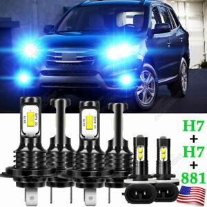 For Hyundai Santa Fe 2007-2009 Blue LED Headlight High Low Beam Fog Light Bulb