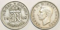 1947 to 1951 George VI Cupro-Nickel Sixpence Your Choice of Date  / Year