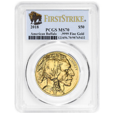 2018 $50 American Gold Buffalo PCGS MS70 First Strike Buffalo Label