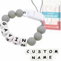 Grey Personalised Dummy Clip Name Pacifier Chain Binky Holder Baby Shower Gift