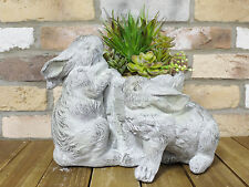 Kissing Bunny Rabbits Garden Planter Flower Pot Statue Sculpture Ornament 35cm