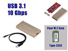 "Caja Aluminio USB 3.1 (10G) M2 - Para SSD M.2 NGFF Tipo ""SATA"" FORMATO 2242"