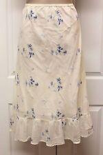 Polo Ralph Lauren Ivory Blue Floral Cotton Mid-Calf Length Peasant Skirt Sz 4