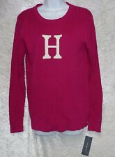 Tommy Hilfiger Womens Sweater H Ribbed Crew Neck Solid Long Sleeves size L NEW