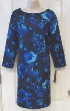 Daisy Fuentes 3/4 Sleeve Blue Floral Scoopneck Sheath Women's Sz M NWT MSRP$68
