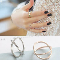 Minimal Cross Circle Stack Band Ring Gold Silver Women Elegant Fashion Jewelry