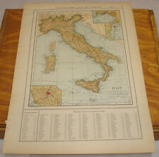 1908 Colliers Antique COLOR Map/ITALY, b/w TURKEY IN EUROPE