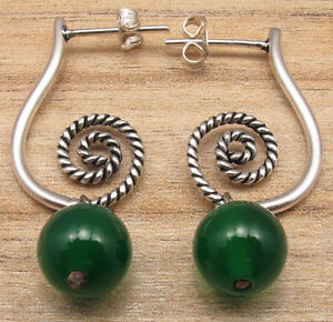 Real GREEN ONYX Beads, 925 Silver Plated OLD STYLE Earrings Tall Women Fashion