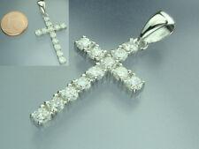 925 Sterling Silber Anhänger Kreuz mit Zirkonia rhodiniert 40 mm 12 weiße rund
