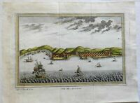 Cannanore India Harbor View Dutch Ships c. 1761 engraved prospect view