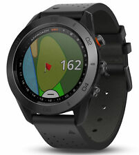 Garmin Approach S60 Premium GPS golf watch with black leather band 010-01702-03