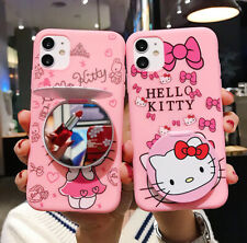 For iPhone 11 Pro Max XR 8+ Girl Cute Hello Kitty Soft Case Cover & Mirror Stand