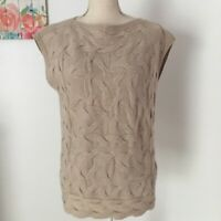 Lafayette 148 New York Womens SZ Small Petite Knit Sweater Top 100% Cashmere Tan