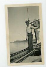 Vintage photo shirtless handsome fit fisherman Sailor man Gay interest