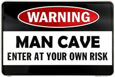 "Warning Man Cave Enter Own Risk 8"" x 12"" Metal Sign Funny Embossed Plaque Decor"