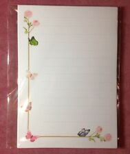Wild Pink Roses & Butterflies Lined Writing Paper & Envelopes Stationery Set