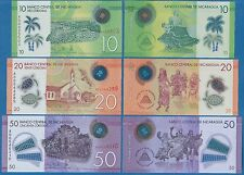 Nicaragua Set of 3 Polymer notes 10 + 20 + 50 Cordobas New 2014 (2015) UNC