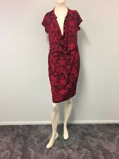 NWT Peter Morrissey red, black Cowl neck dress size 12 knee length women work