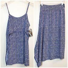 Clara Sun Woo Womens Skirt Set Blue White Stripe Stretch XS