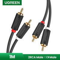 Ugreen 2RCA Male to 2RCA Male Stereo Audio Cable Gold Plated for Home Theater 1m