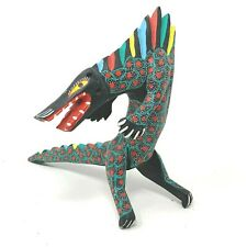 Wooden Hand Painted Dragon Monster Mexican Incense Holder Statue Carving Bright