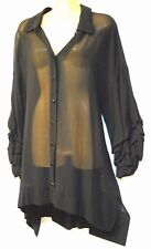 plus sz L / 22 TS TAKING SHAPE Noir Shirt sheer drape sexy chic top NWT rrp$140!