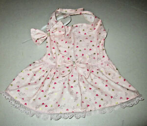 M Dog dress [pink hearts] cotton handmade