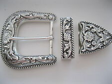 Cowboy Western Belt Buckle Set #1881- Silver Plated with Floral Design