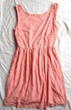 dress pink floral lace dress tea size 8 mini evening party skater stretch salmon