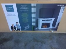 """Scott Living White Corner Media Mantel With 33"""" Infrared Electric Fireplace New"""