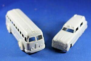 Plasticville - O-O27 - V-6; V-10 Ambulance & Bus (Gray) - Excellent+++++