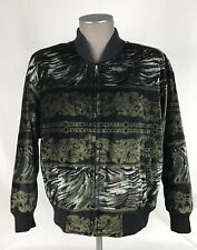 Otto Mens L/S Full Zip Bomber Jacket Mens SZ Medium Black Paisley