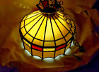 """18"""" Vintage Tiffany Pendant Baroque Style Hanging Lamp Stained Glass Luminaire"""