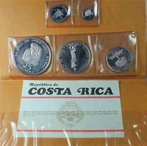 1969 Republic of Costa Rica 5 Coin Silver Proof Set w/COA & Original Wallet(450)