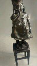 Adorable vintage bronze girl on chair carries shoe after Juan Clara 's figurine