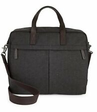 FOSSIL Buckner BRIEF CASE Shoulder BAG $178 BLACK Men GIFT Canvas Leather LAPTOP