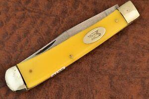VINTAGE SCHMIDT & ZIEGLER OLD YELLOW FULL SIZE TRAPPER KNIFE RUNNING BULL (9122)