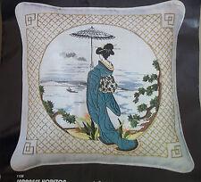 Geisha fuji Japan Bonsai japanese Crewel Embroidery unsealed New Pillow part Kit