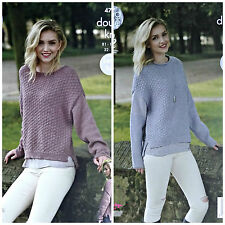 KNITTING PATTERN Ladies Long Sleeve Boat or Roll Neck Jumper DK King Cole 4749