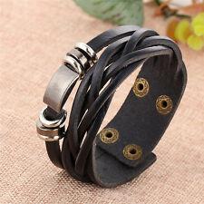 Fashion Vintage Men's Metal Steel Studded Surfer Leather Bangle Cuff Bracelet
