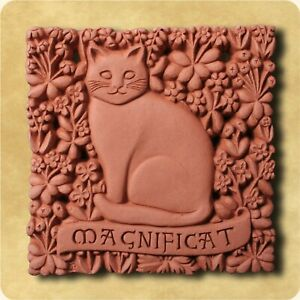 Magnificat Superior Pet Cat in Garden  Hand Craft Crafted Decorative Wall Tile