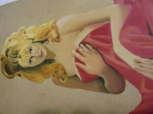 vintage NUDE BLONDE WOMAN PAINTING  12X16  ON BOARD NICE WORK  SIGNED