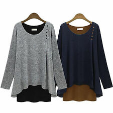 Womens Long Sleeve Tunic Tops Sweater Pullover Loose Blouse T Shirt Sweatshirt