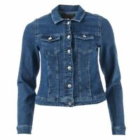 Women's Only Westa Regular Fit Full Button Cotton Blend Denim Jacket in Blue